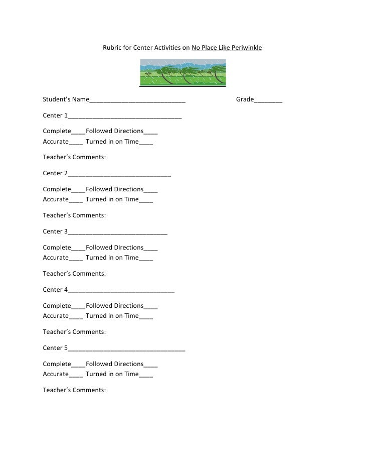 Rubric for Center Activities on No Place Like Periwinkle<br />Student's Name___________________________Grade________<br />...