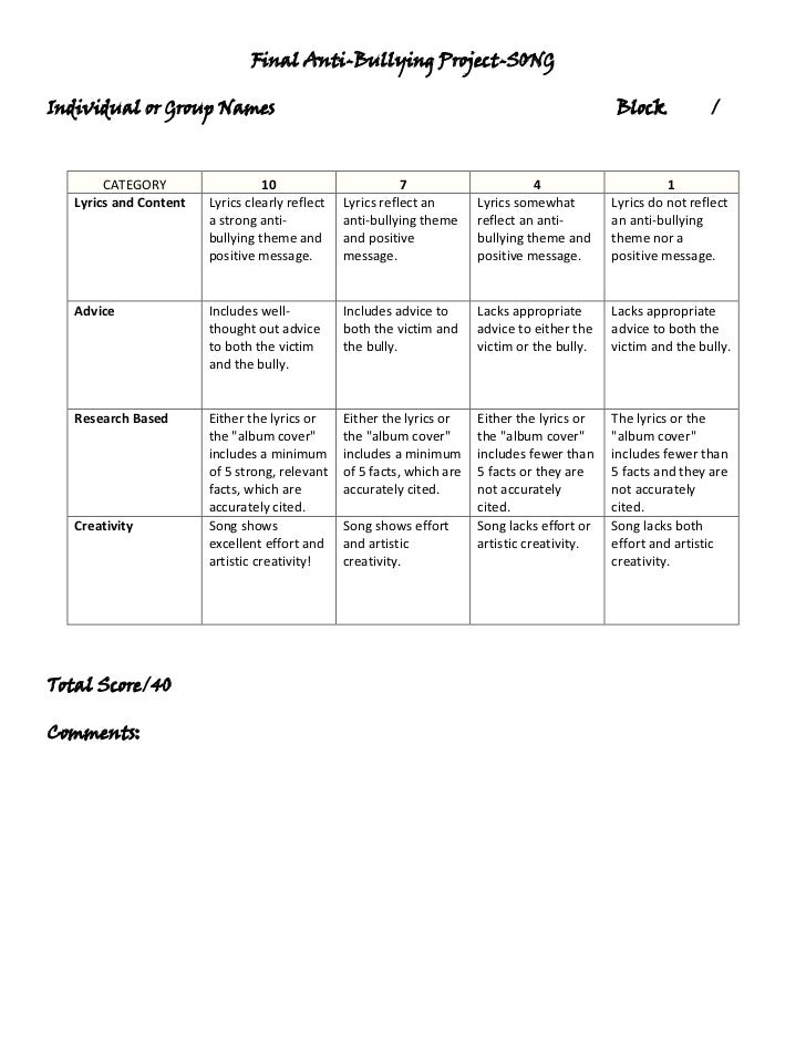 rubric for song