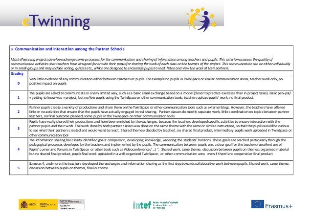 3. Communication and Interaction among the Partner Schools Most eTwinning projects develop exchange some processes for the...