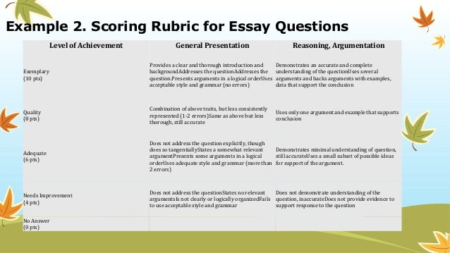 rubrics for esl essays