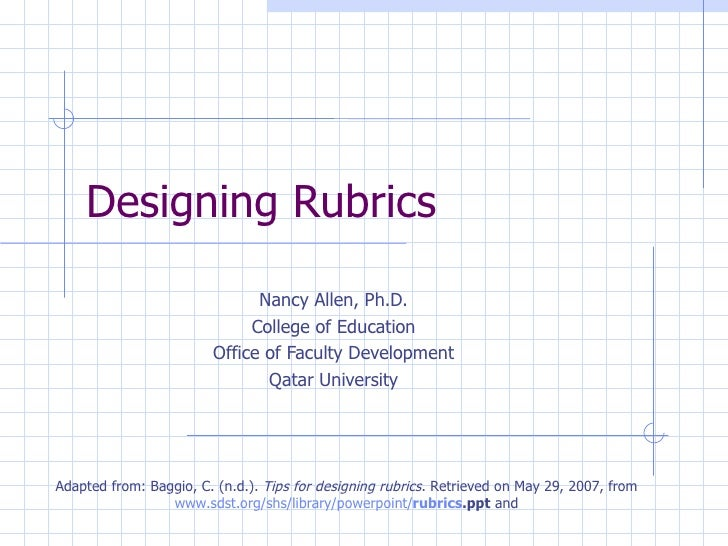 Designing Rubrics                              Nancy Allen, Ph.D.                             College of Education        ...