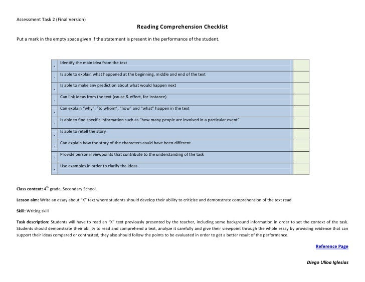 Assessment Task 2 (Final Version)                                                                     Reading Comprehensio...