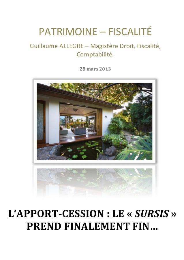 PATRIMOINE – FISCALITÉ           Guillaume ALLEGRE – Magistère Droit, Fiscalité,         ...