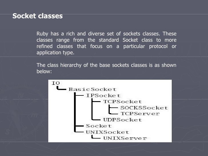 Socket classes Ruby has a rich and diverse set of sockets classes. These classes range from the standard Socket class to m...