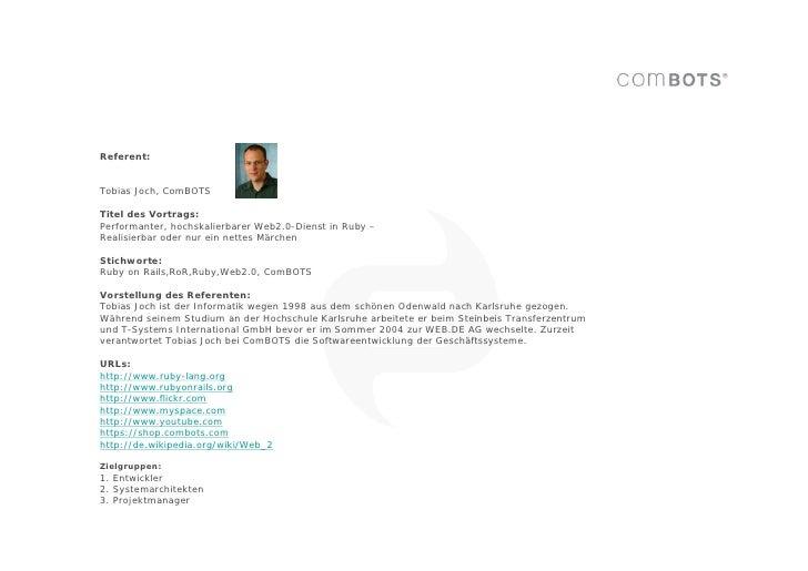 Performanter, hochskalierbarer Web 2.0-Dienst in Ruby Slide 2