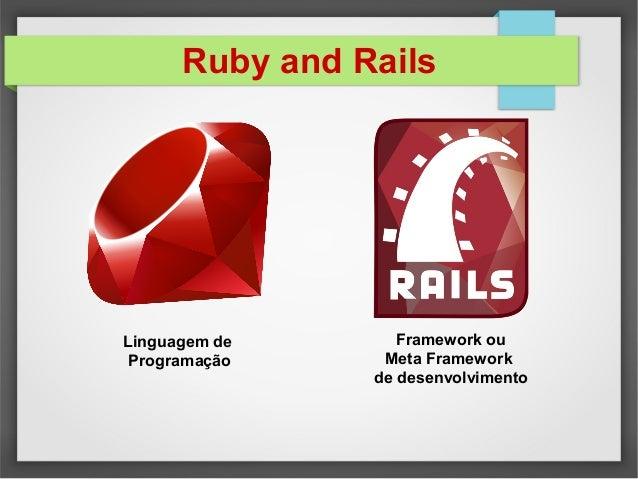 Ruby and Rails Linguagem de Programação Framework ou Meta Framework de desenvolvimento