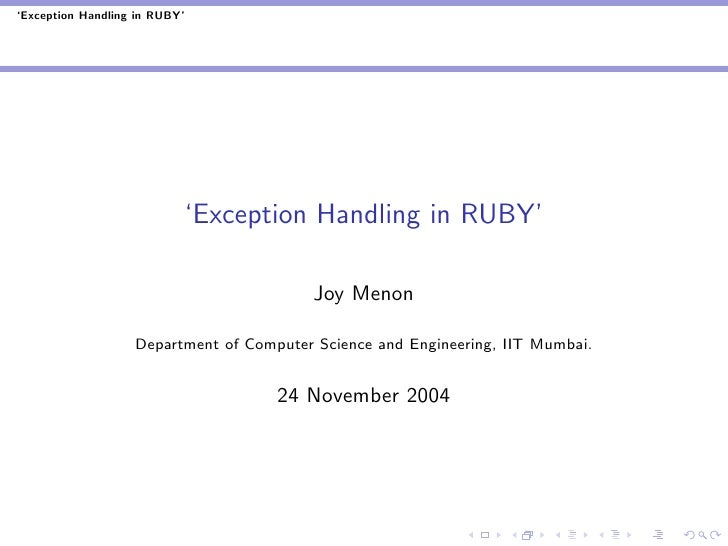 'Exception Handling in RUBY'                                'Exception Handling in RUBY'                                  ...