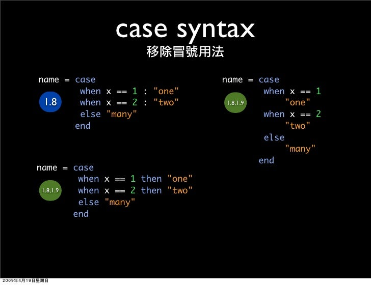 case syntax name = case                        name = case         when x == 1 : quot;onequot;                  when x == ...