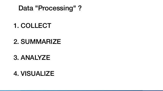 VISUALIZEANALYZESUMMARIZE Steps of Data Processing COLLECT