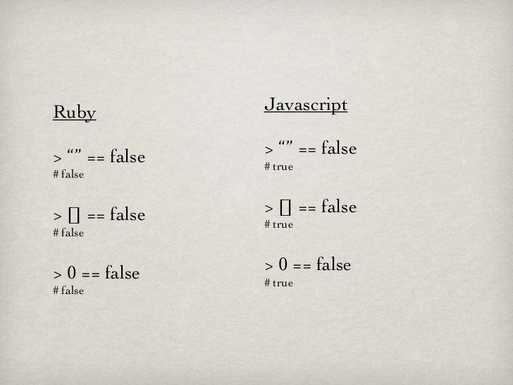 "Ruby            Javascript> """" == false   > """" == false                # true# false> [] == false   > [] == false         ..."