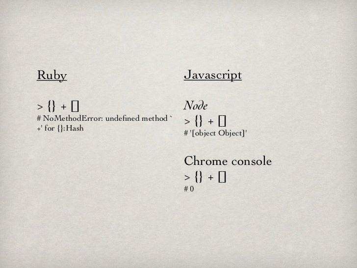 Ruby                                 Javascript> {} + []                            Node# NoMethodError: undefined method `...