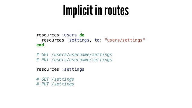 """Implicit in routes resources :users do resources :settings, to: """"users/settings"""" end ! # GET /users/username/settings # PU..."""