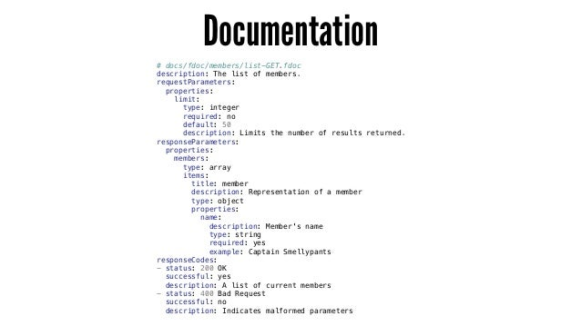 Documentation # docs/fdoc/members/list-GET.fdoc description: The list of members. requestParameters: properties: limit: ty...