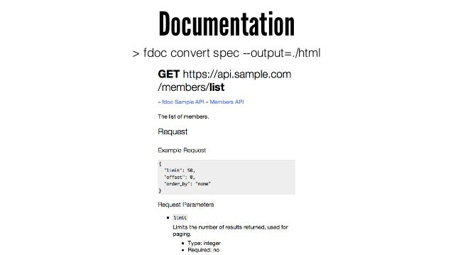 Documentation > fdoc convert spec --output=./html - 一樣透過內建指令產生 html,而這就是根據 .fdoc 產生 - 有 endpoint、request 應該要有的欄位、格式、必須欄位等等