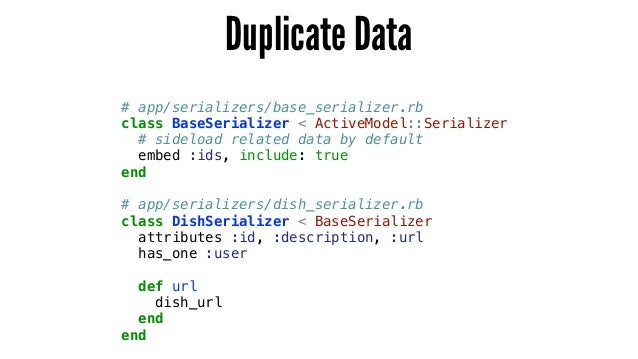# app/serializers/base_serializer.rb class BaseSerializer < ActiveModel::Serializer # sideload related data by default emb...