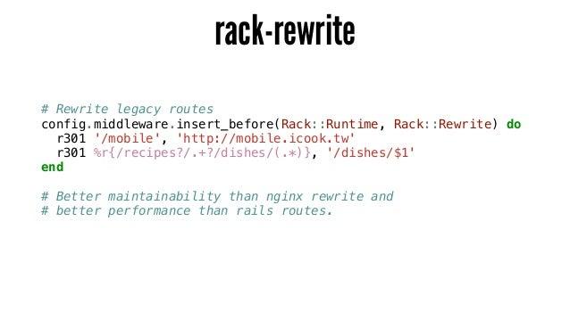 rack-rewrite # Rewrite legacy routes config.middleware.insert_before(Rack::Runtime, Rack::Rewrite) do r301 '/mobile', 'htt...