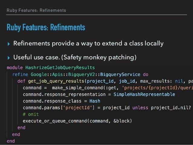 Ruby Features: Method Hooks ▸ Ruby has six method hooks ▸ Module#method_added ▸ Module#method_removed ▸ Module#method_unde...