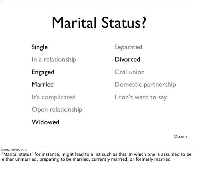 marital status  single separated in