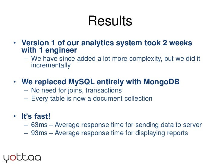 Results<br />Version 1 of our analytics system took 2 weeks with 1 engineer <br />We have since added a lot more complexit...