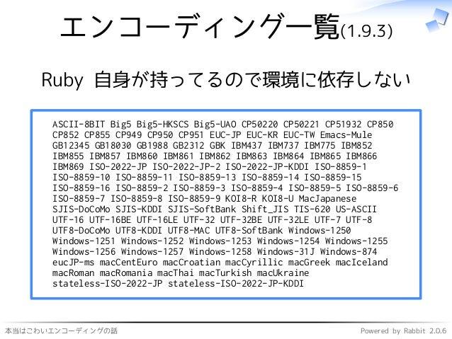 本当はこわいエンコーディングの話 Powered by Rabbit 2.0.6 エンコーディング一覧(1.9.3) Ruby 自身が持ってるので環境に依存しない ASCII-8BIT Big5 Big5-HKSCS Big5-UAO CP50...