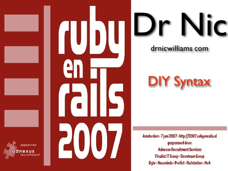 Dr Nic  drnicwilliams.com    DIY Syntax