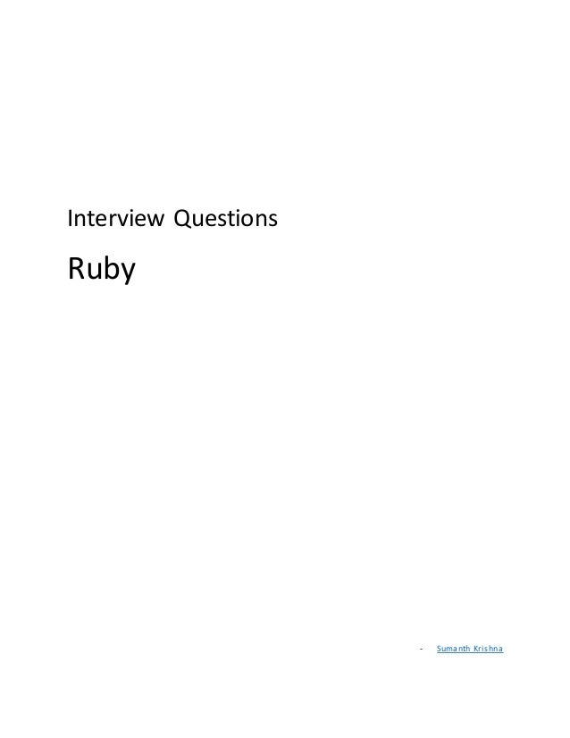 Interview Questions Ruby - Sumanth Krishna