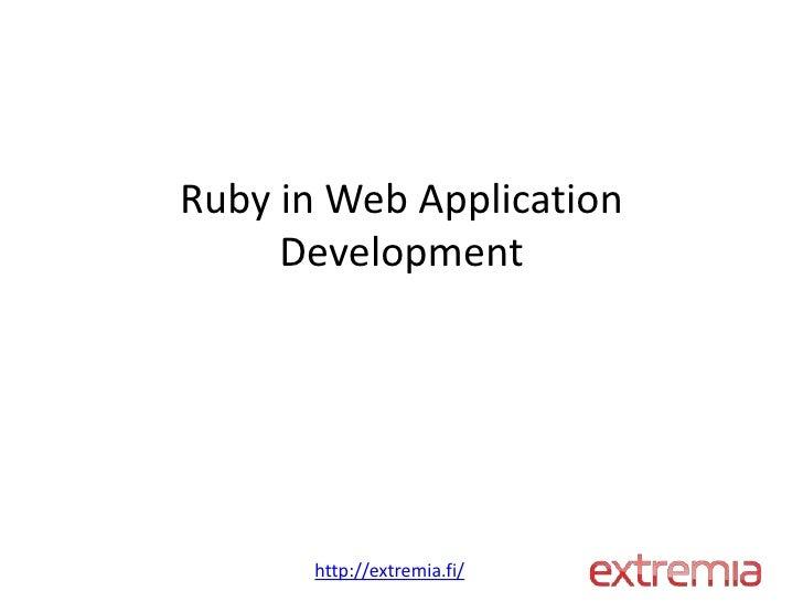 Ruby in web application development