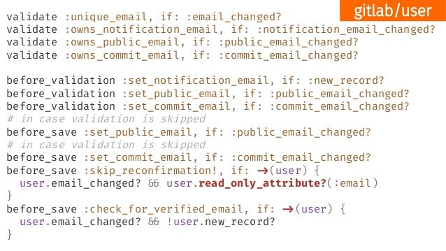 validate :unique_email, if: :email_changed? validate :owns_notification_email, if: :notification_email_changed? validate :...
