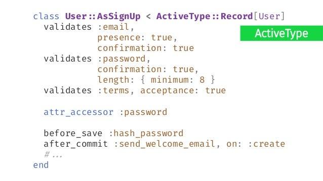 Elixir defmodule ValidationShowcase.Accounts.User do # ... def registration_changeset(user, attrs) do user |> cast(attrs, ...