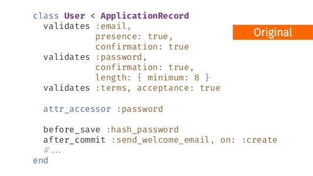 Pipe defmodule ValidationShowcase.Accounts.User do # ... def registration_changeset(user, attrs) do user |> cast(attrs, [:...