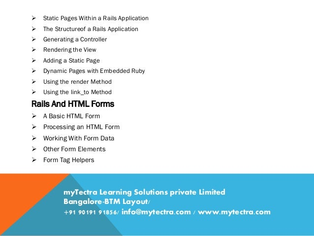Ruby on Rails Training in Bangalore Classroom, Online