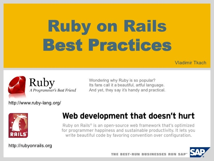Ruby on Rails                 Best Practices                                                                             V...
