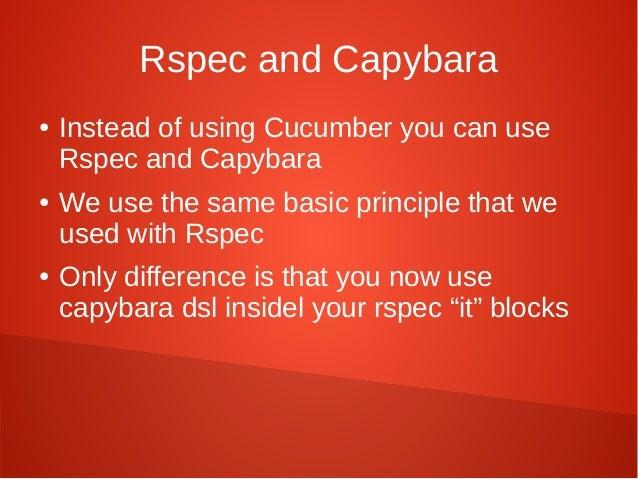 Ruby Onrails Cucumber Rspec Capybara