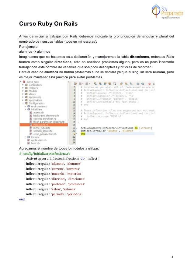 1 Curso Ruby On Rails Antes de iniciar a trabajar con Rails debemos indicarle la pronunciación de singular y plural del no...