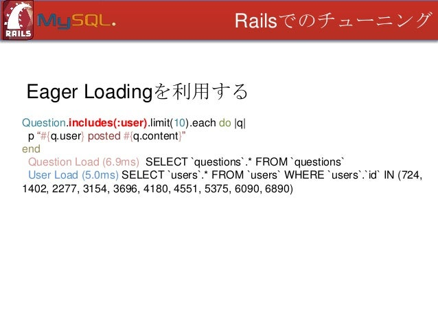 """Railsでのチューニング  Eager Loadingを利用する Question.includes(:user).limit(10).each do 