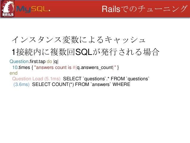 Railsでのチューニング  更新時コールバックでの集計 • カウント集計 • 最後に更新のあった解答