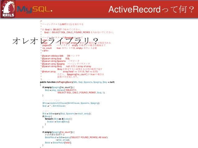 ActiveRecordって何? /** * ページングクエリ(LIMIT 付き) を実行する * * 注: $sql は SELECT で始めてください。 * $sql に SELECT SQL_CALC_FOUND_ROWS を入れないでく...