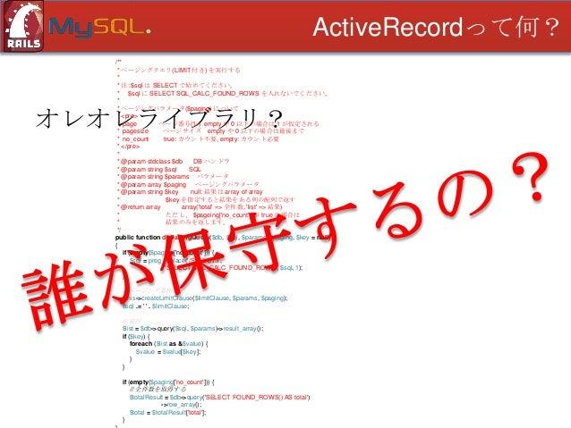 ActiveRecordって何?  オレオレライブラリ? • 属人性が高い • OSSに比べて枯れていない • プラグマブルで無く、代替出来ない