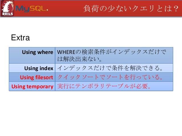 負荷の少ないクエリとは?  Using filesort • インデックスを追加する • ソート条件を1テーブルに集中させる • ソート実行を早めにさせる