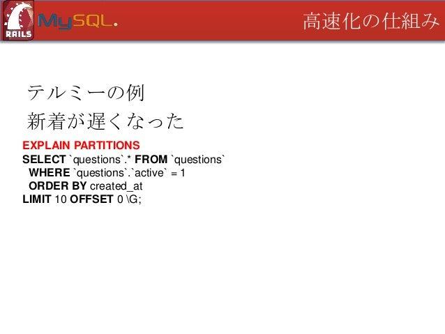 高速化の仕組み  テルミーの例 新着が遅くなった id: 1 select_type: SIMPLE table: questions partitions: p0,p1,p2,p3,…,p509,p510,p511 type: ALL pos...