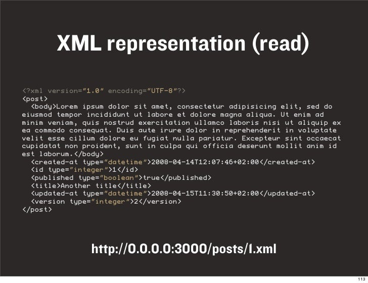 "XML representation (read) <?xml version=""1.0"" encoding=""UTF-8""?> <post>   <body>Lorem ipsum dolor sit amet, consectetur ad..."