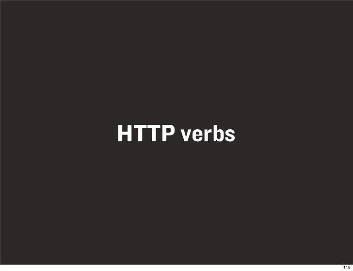 HTTP verbs                  118