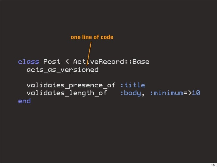 one line of code   class Post < ActiveRecord::Base   acts_as_versioned    validates_presence_of :title   validates_length_...
