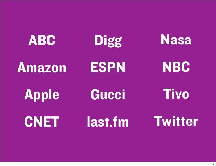 ABC      Digg      Nasa Amazon   ESPN       NBC Apple    Gucci      Tivo CNET     last.fm   Twitter                       ...