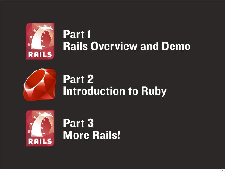 Part 1 Rails Overview and Demo  Part 2 Introduction to Ruby  Part 3 More Rails!                            6
