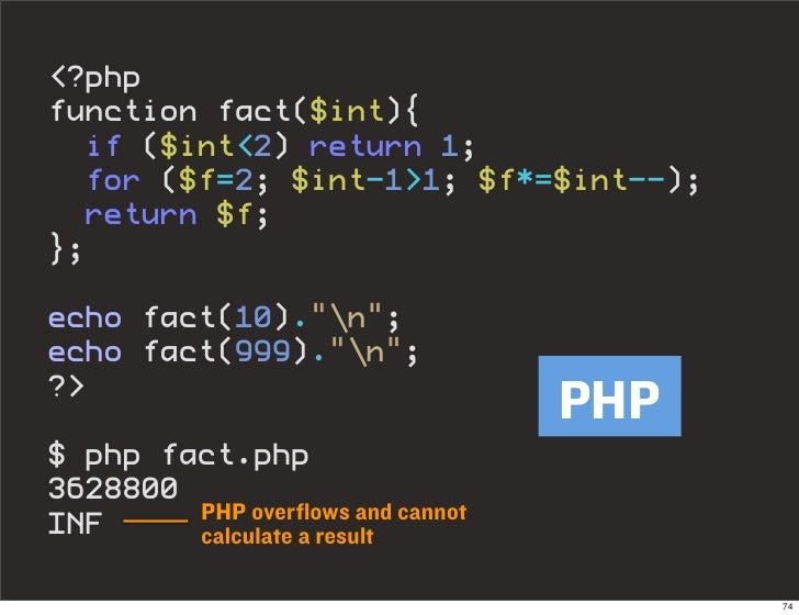 """<?php function fact($int){   if ($int<2) return 1;   for ($f=2; $int-1>1; $f*=$int--);   return $f; };  echo fact(10).""""n"""";..."""