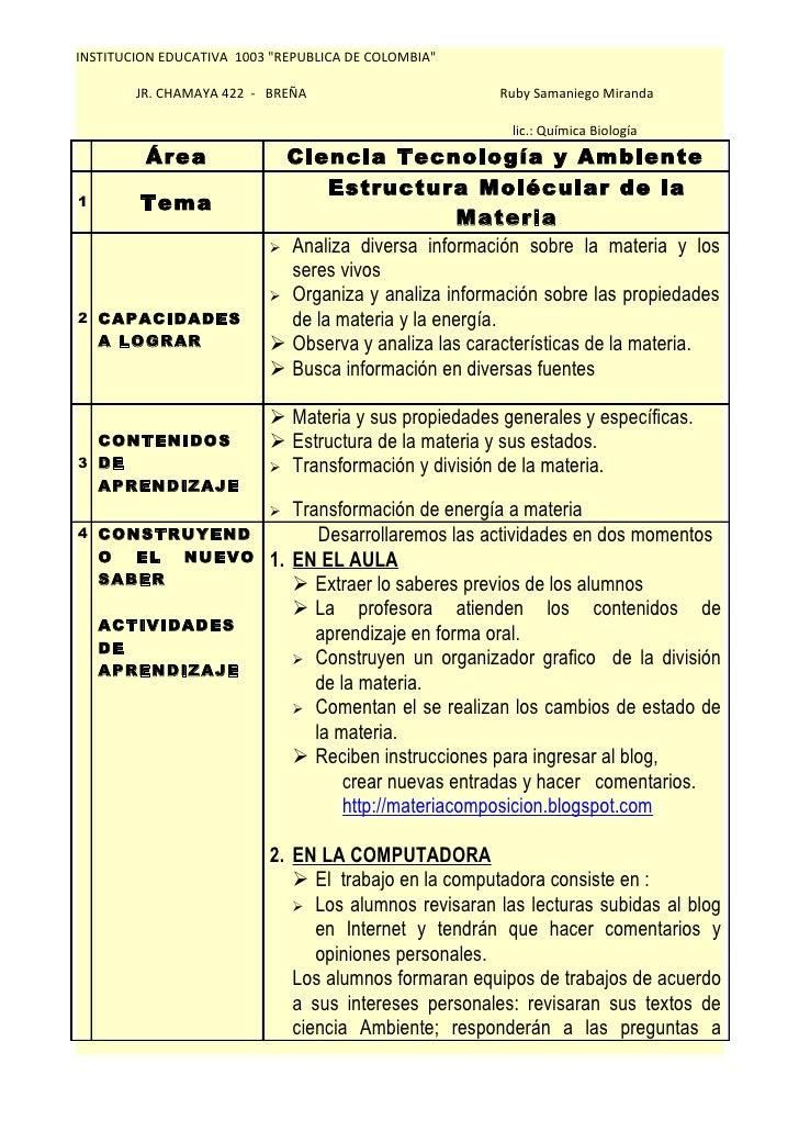 """INSTITUCION EDUCATIVA 1003 """"REPUBLICA DE COLOMBIA""""          JR. CHAMAYA 422 - BREÑA                       Ruby Samaniego M..."""