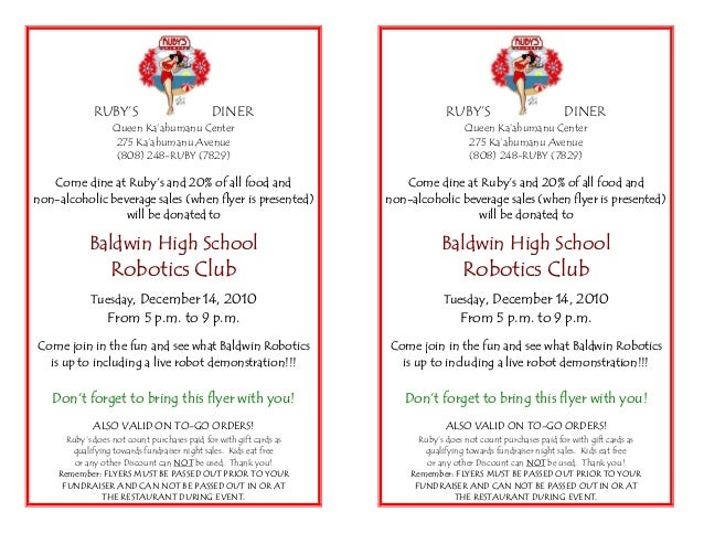 Baldwin High School Robotics Club Fundraiser Flyer