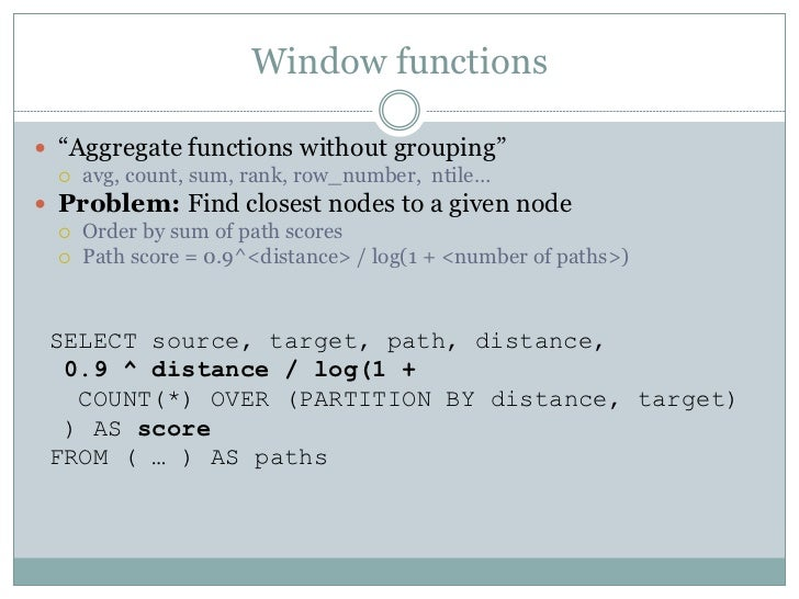 PostgreSQL: Advanced features in practice