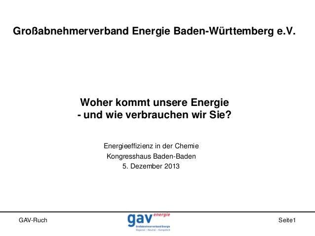 Großabnehmerverband Energie Baden-Württemberg e.V.  Woher kommt unsere Energie - und wie verbrauchen wir Sie? Energieeffiz...